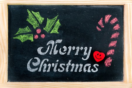 Wooden Frame Vintage Chalkboard With Merry Christmas Message Stock