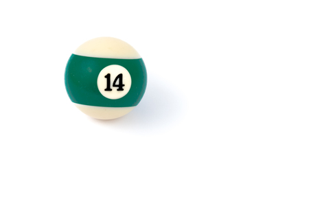 fourteen: Billiard ball fourteen isolated on a white background Stock Photo