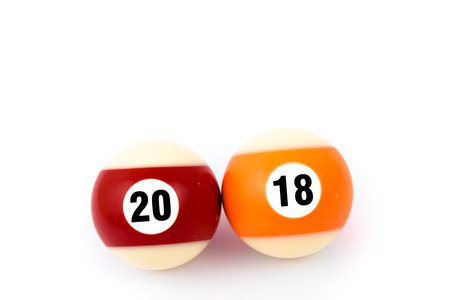 18 20: Two billiard balls isolated on a white background, showing together year 2018, happy new year concept