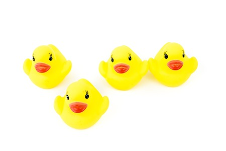 copy paste: Four yellow rubber ducks in a line, one in front of the line, isolated on white background, available copy paste, stand out from the crowd concept