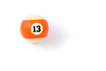 thirteen: Billiard ball thirteen isolated on a white background Stock Photo