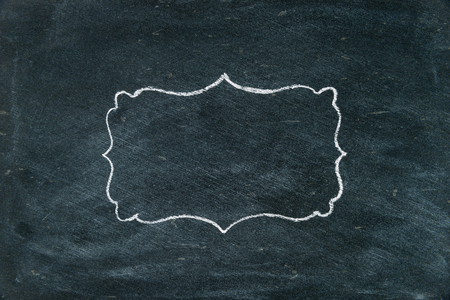 copy paste: Hand drawing chalk frame on blackboard as design resource, copy paste available Stock Photo