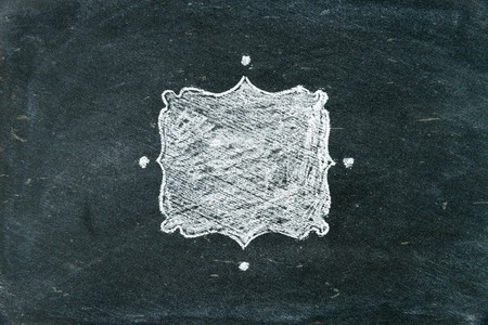 copy paste: Hand drawing chalk frame filled with white on blackboard as design resource, copy paste available