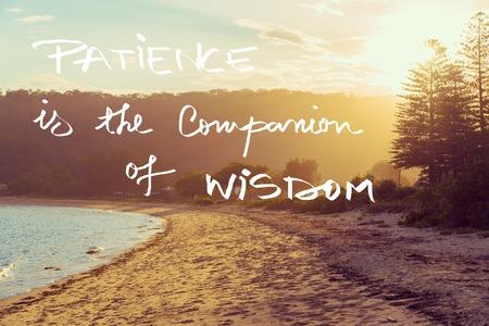 Handgeschreven tekst over zonsondergang rustige zonnige strand achtergrond, geduld is de metgezel van wijsheid, vintage filter toegepast, afbeelding motievenconcept