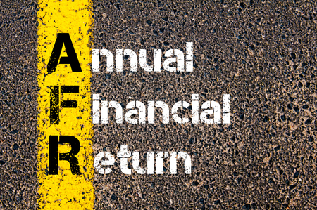 Concept image of Business Acronym AFR Annual Financial Return written over road marking yellow paint line. Banco de Imagens