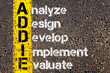 Concept image of Business Acronym  ADDIE  Analyze, Design, Develop, Implement, and Evaluate written over road marking yellow paint line. Stock Photo