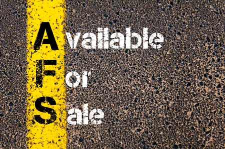 Concept image of Business Acronym AFS Available For Sale written over road marking yellow paint line.
