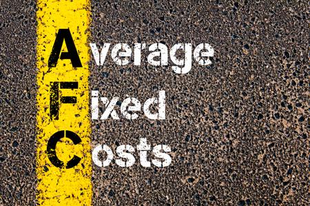 fixed: Imagen del concepto del acrónimo negocios AFC Promedio de costos fijos escritos a lo largo marcando la línea de pintura de color amarillo carretera.