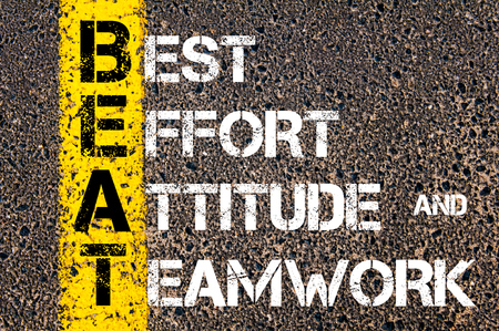 best guide: Concept image of Business Acronym BEAT Best Effort, Attitude, and Teamwork written over road marking yellow paint line