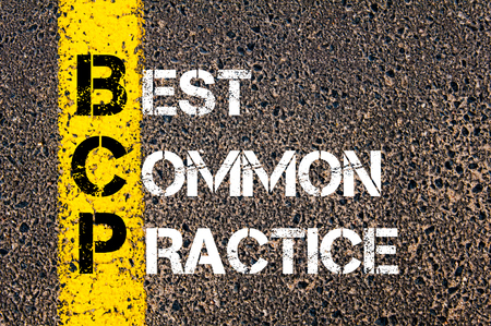 bcp: Concept image of Business Acronym BCP Best Common Practice written over road marking yellow paint line Stock Photo