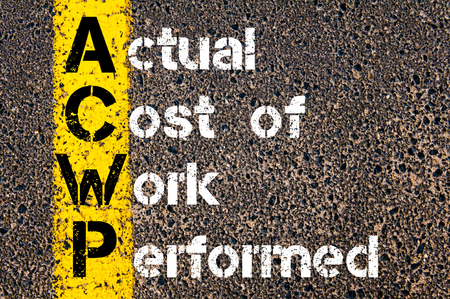 actual: Concept image of Business Acronym ACWP Actual Cost of Work Performed written over road marking yellow paint line. Stock Photo