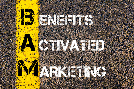 bam: Concept image of Business Acronym BAM Benefits Activated Marketing written over road marking yellow paint line