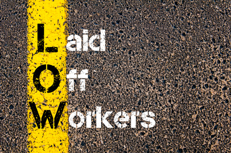 laid: Concept image of Business Acronym LAID OFF WORKERS written over road marking yellow paint line. Stock Photo
