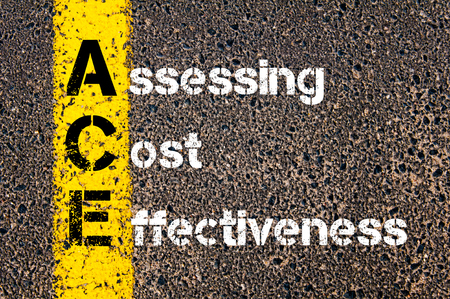 effectiveness: Concept image of Business Acronym ACE Assessing Cost Effectiveness written over road marking yellow paint line.
