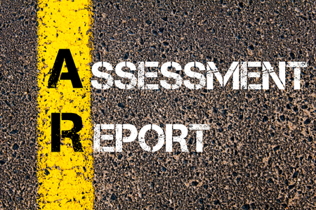 ar: Concept image of Business Acronym AR Assessment Report written over road marking yellow paint line