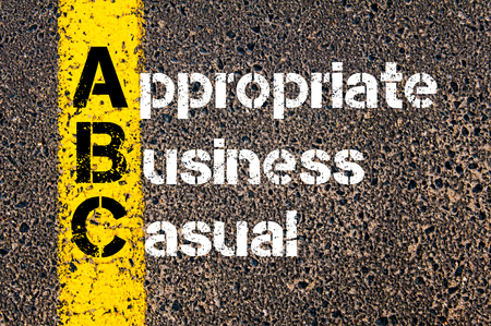 appropriate: Concept image of Business Acronym ABC Appropriate Business Casual written over road marking yellow paint line. Stock Photo