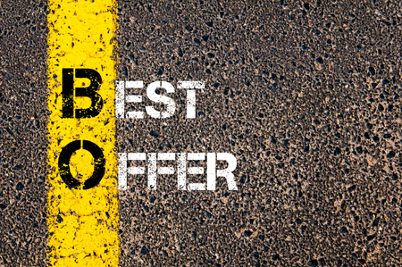 bo: Concept image of Business Acronym BO BEST OFFER written over road marking yellow paint line