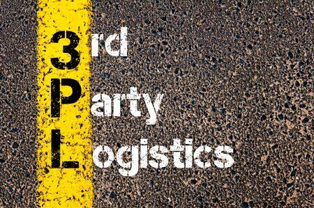비즈니스 약어 3PL의 개념 이미지 제 3 자 물류 노란색 도료 라인을 마킹하는 통해 작성합니다.