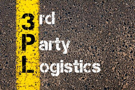 Concept image of Business Acronym 3PL THIRD PARTY LOGISTICS written over road marking yellow paint line.