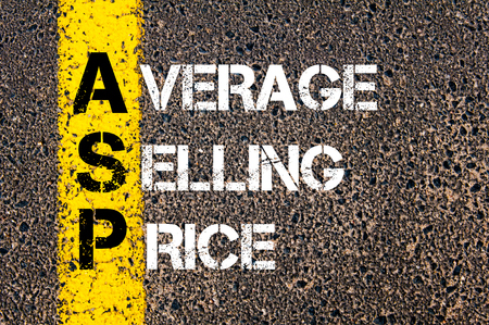 asp: Concept image of Business Acronym ASP Average Selling Price written over road marking yellow paint line