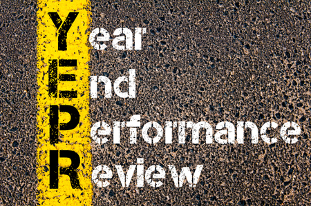 end of the line: Concept image of Business Acronym YEPR YEAR END PERFORMANCE REVIEW written over road marking yellow paint line. Stock Photo