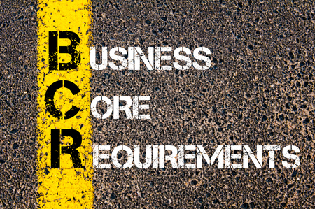 requirements: Concept image of Business Acronym BCR Business Core Requirements written over road marking yellow paint line