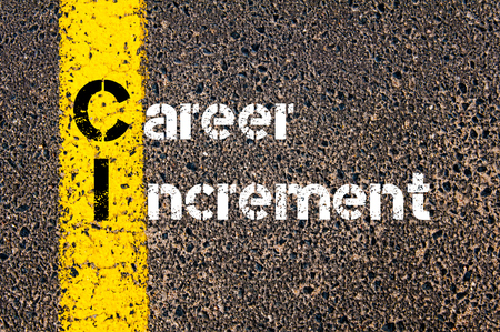 increment: Concept image of Business Acronym CI CAREER INCREMENT written over road marking yellow paint line. Stock Photo