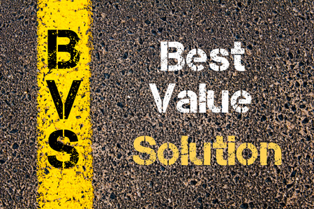 valor: Concept image of Business Acronym BVS Best Value Solution written over road marking yellow paint line
