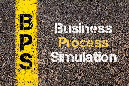 simulations: Concept image of Business Acronym BPS Business Process Simulation written over road marking yellow paint line Stock Photo