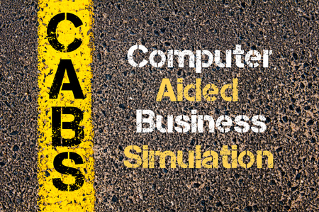 simulation: Concept image of Business Acronym CABS Computer Aided Business Simulation written over road marking yellow paint line