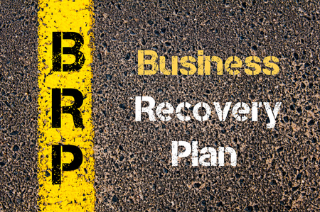 road to recovery: Concept image of Business Acronym BRP Business Recovery Plan written over road marking yellow paint line