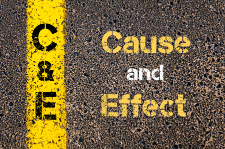 cause and effect: Concept image of Business Acronym C&E Cause and Effect written over road marking yellow paint line
