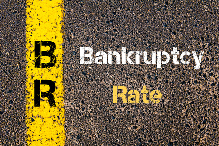 br: Concept image of Business Acronym BR Bankruptcy Rate written over road marking yellow paint line
