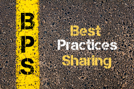 Concept image of Business Acronym BPS Best Practices Sharing written over road marking yellow paint line