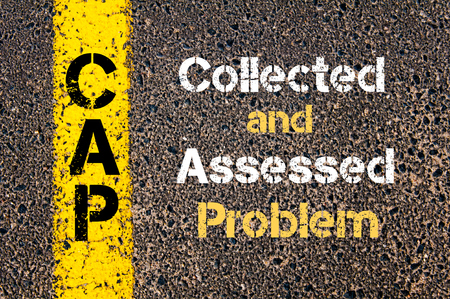 assessed: Concept image of Business Acronym CAP Collected and Assessed Problem written over road marking yellow paint line