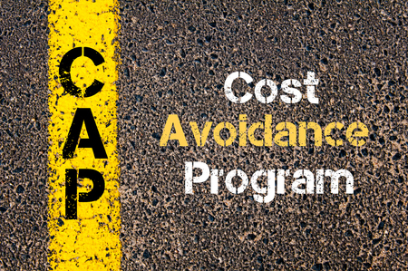 avoidance: Concept image of Business Acronym CAP Cost Avoidance Program written over road marking yellow paint line