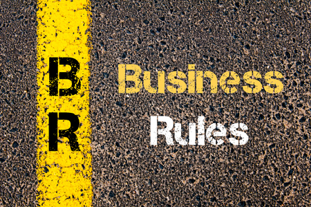 br: Concept image of Business Acronym BR Business Rules written over road marking yellow paint line Stock Photo