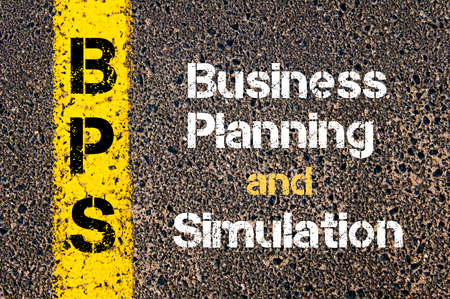 bps: Concept image of Business Acronym BPS Business Planning and Simulation written over road marking yellow paint line