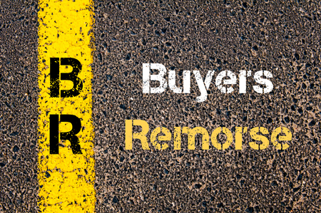 remorse: Concept image of Business Acronym BR Buyers Remorse written over road marking yellow paint line