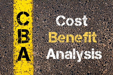 Concept image of Business Acronym CBA Cost Benefit Analysis written over road marking yellow paint line