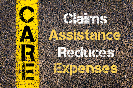 reduces: Concept image of Business Acronym CARE Claims Assistance Reduces Expenses written over road marking yellow paint line