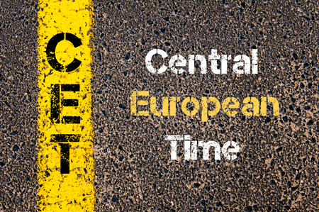 central european: Concept image of Business Acronym CET Central European Time written over road marking yellow paint line