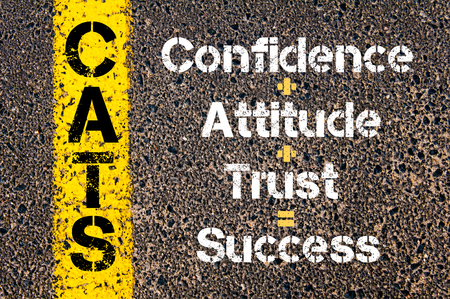equals: Concept image of Business Acronym CATS Confidence plus Attitude plus Trust equals Success written over road marking yellow paint line Stock Photo