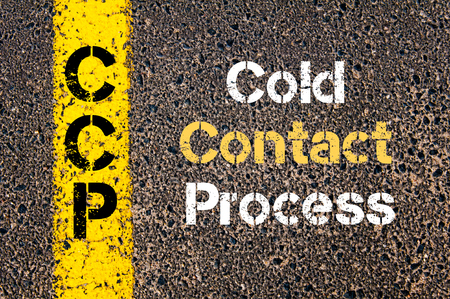 road marking: Concept image of Business Acronym CCP Cold Contact Process written over road marking yellow paint line Stock Photo