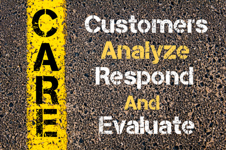 respond: Concept image of Business Acronym CARE Customers Analyze Respond And Evaluate written over road marking yellow paint line Stock Photo