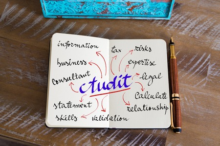 validity: Retro effect and toned image of notebook next to a fountain pen. Business concept image with handwritten text AUDIT