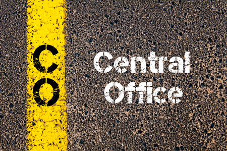 co: Concept image of Business Acronym CO Central Office written over road marking yellow paint line