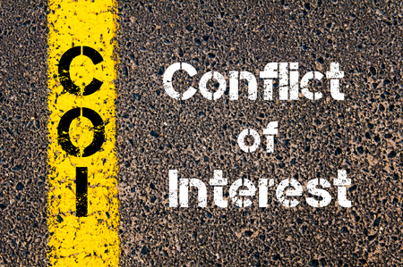 coi: Concept image of Business Acronym COI conflict of interest written over road marking yellow paint line