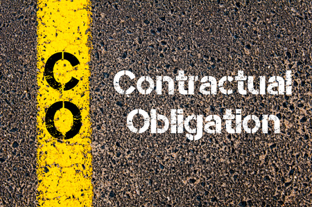 contractual: Concept image of Business Acronym CO Contractual Obligation written over road marking yellow paint line