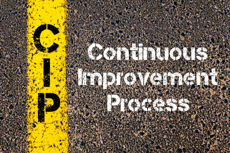 cip: Concept image of Business Acronym CIP Continuous Improvement Process written over road marking yellow paint line Stock Photo